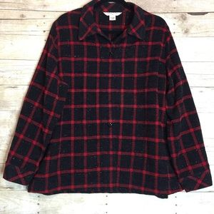 Allison Daly red and black plaid shirt size 20W